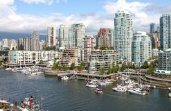 Vancouver BC downtown skyline at False creek. Stock Photo