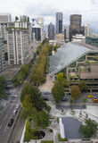 Vancouver BC i stadens centrum Cityscapesikt arkivbild