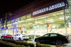 Vancouver BC, Kanada - 9. Januar 2018: Acura-Automobilverkaufsstelle-Speicherfront Acura ist die Luxusfahrzeugabteilung des Japan Lizenzfreies Stockbild