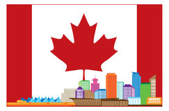 Vancouver BC Kanada Kolorowa linia horyzontu w kanadyjczyk flaga Zdjęcie Stock
