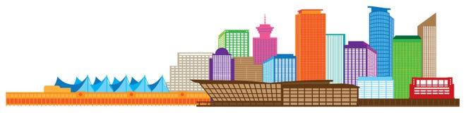 Vancouver BC Kanada linii horyzontu koloru ilustracja ilustracja wektor