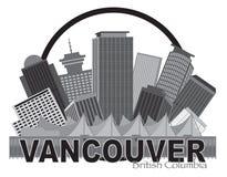 Vancouver BC Kanada linii horyzontu okręgu Grayscale ilustracja ilustracji