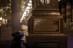 VANCOUVER BC KANADA - 27. NOVEMBER 2015: Die alte Dampfuhr in Vancouver-` s historisches Gastown lizenzfreies stockfoto