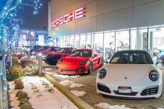 Vancouver BC, Kanada, Styczeń - 9, 2018: Porsche jest niemiec samochodu wytwórcy specjalizowaniem w wydajnych samochodach porsche Obrazy Royalty Free