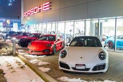 Vancouver BC, Kanada, Styczeń - 9, 2018: Porsche jest niemiec samochodu wytwórcy specjalizowaniem w wydajnych samochodach porsche Obraz Royalty Free