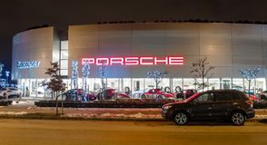 Vancouver BC, Kanada, Styczeń - 9, 2018: Porsche jest niemiec samochodu wytwórcy specjalizowaniem w wydajnych samochodach porsche Zdjęcia Stock