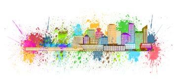 Vancouver BC linii horyzontu farby Splatter ilustracja ilustracja wektor