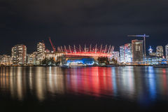 Vancouver BC Place Arena Neon Light Night Reflections, Canada. Vancouver BC Place Arena Neon Light Night Reflections over False Creek, Vancouver, Canada royalty free stock photography