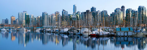 Vancouver BC Skyline along False Creek Stock Photos