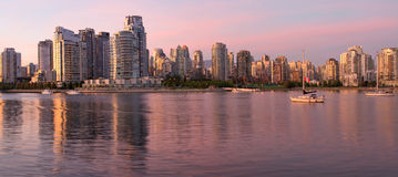 Vancouver BC Skyline along False Creek at Dusk Royalty Free Stock Image