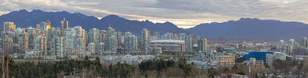 Vancouver BC Skyline Along False Creek Panorama Royalty Free Stock Photos