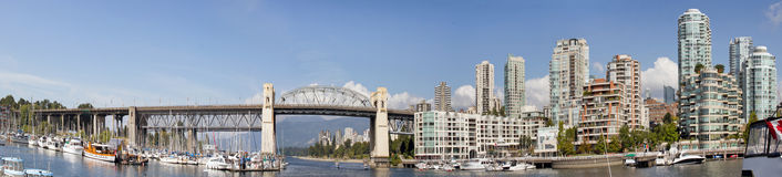 Vancouver BC Skyline and Burrard Bridge Panorama Royalty Free Stock Image