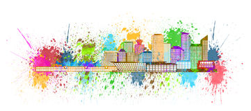Vancouver BC Skyline Paint Splatter Illustration Royalty Free Stock Photos