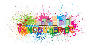 Vancouver BC Skyline Paint Splatter Vector Illustration. Vancouver British Columbia Canada City Skyline Color Text with Abstract Paint Splatter Vector Royalty Free Stock Photos