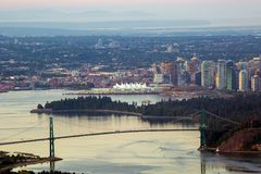 Vancouver BC Skyline by Stanley Park in Canada Royalty Free Stock Image
