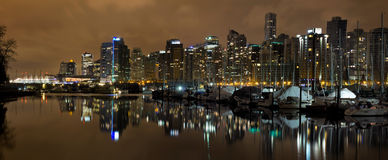 Vancouver BC Skyline from Stanley Park at Nigh Royalty Free Stock Photography