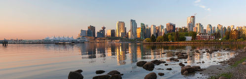 Vancouver BC Skyline from Stanley Park at Sunrise Panorama Stock Images