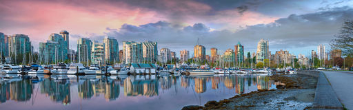Vancouver BC Skyline at Stanley Park during Sunrise Panorama Stock Photography