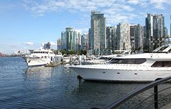 Vancouver BC skyline & yachts. Stock Photo