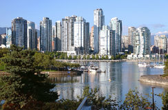 Vancouver BC south waterfront skyline & sailboats. Stock Images