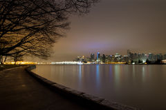 Vancouver BC Stanley Park Seawall in Dawn Royalty-vrije Stock Foto's