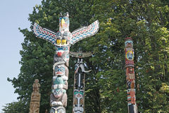 Vancouver BC Totem Poles Royalty Free Stock Image