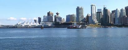 Vancouver-BC Ufergegend-Skylinepanorama. Lizenzfreies Stockbild