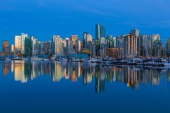 Vancouver BC Waterfonrt Skyline at Blue Hour in Canada Royalty Free Stock Photography
