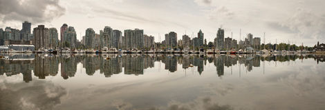 Vancouver BC Waterfront Skyline from Stanley Park Royalty Free Stock Photos