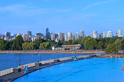 Vancouver beach and swimming pool Royalty Free Stock Image