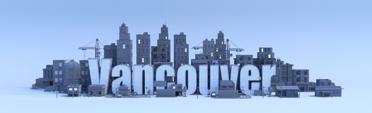 Vancouver-Beschriftung, Stadt 3d Stockfotos