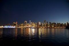 Vancouver bij nacht Stock Afbeelding