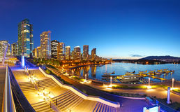 Vancouver bij nacht Royalty-vrije Stock Foto