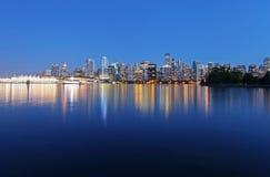 Vancouver bij nacht Stock Fotografie