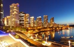 Vancouver bij nacht Royalty-vrije Stock Afbeelding