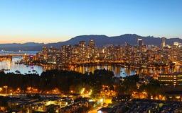 Vancouver bij nacht Royalty-vrije Stock Fotografie