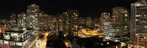Vancouver bij nachtkleur Royalty-vrije Stock Fotografie