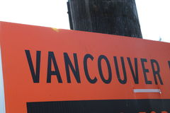 Vancouver billboard-black letters Royalty Free Stock Image