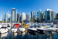 Vancouver boats and skyline. High rise buildings above the private boats moored in the harbor in Vancouver, British Columbia Canada royalty free stock photo