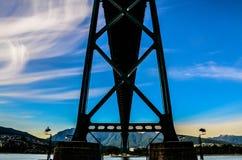 Vancouver bridge. Bridge in Vancouver with blue sky Royalty Free Stock Photo