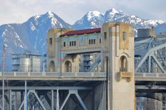 Vancouver Bridge and Mountains Royalty Free Stock Images