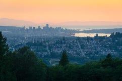 Vancouver, Britisch-Columbia - Sonnenuntergang von Burnaby-Berg Lizenzfreies Stockbild