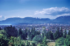 Vancouver British Columbia Canada. Vancouver BC, on the Pacific Ocean, viewed from Queen Elizabeth Park Royalty Free Stock Photography