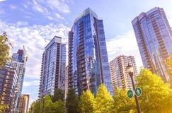 Vancouver British Columbia i stadens centrum solnedgång arkivfoto