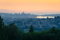 Vancouver, Brits Colombia - Zonsondergang van Burnaby-Berg Royalty-vrije Stock Afbeelding
