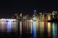Vancouver céntrica en la noche Fotografía de archivo libre de regalías