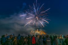 Vancouver A.C. Canadá, enero 1,2018 Fuegos artificiales para las celebraciones del Año Nuevo 2018 Imagen de archivo libre de regalías