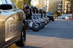 VANCOUVER, A.C., CANAD? - 20 DE ABRIL DE 2019: Motocicletas de VPD y veh?culos de la patrulla en el festival 420 en Vancouver fotografía de archivo libre de regalías