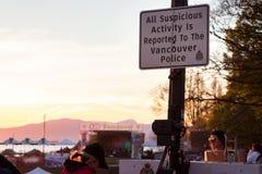 VANCOUVER, A.C., CANAD? - 20 DE ABRIL DE 2019: Una muestra de la polic?a de Vancouver en el festival 420 en Vancouver imagenes de archivo