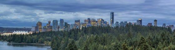 Vancouver A.C. y Stanley Park Panorama Imagen de archivo